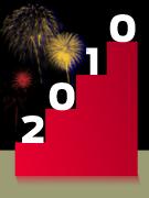 En illustration i form av en trappa med fyra steg. På varje steg står en siffra som tillsammans blir 2010. I bakgrunden exploderar fyrverkeri.