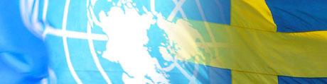 Kollage av FNs och Sveriges flaggor