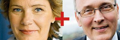 Maria Larsson och Anders Knape förenade med ett pluss-tecken.
