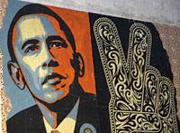 En affisch med Barck Obama