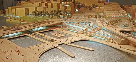 En bild av modellen över nya Slussen
