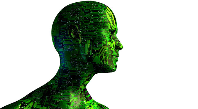 Illustration. en människas ansikte där huden ser ut som ett kretskort
