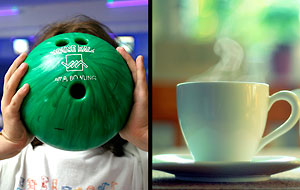Kollage: Bowlare och kaffekopp