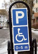 Trafikskylt för parkering för rörelsehindrad