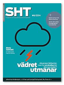Omslaget till SHT 6-2014. En symbol för ett regn- och åskmoln.