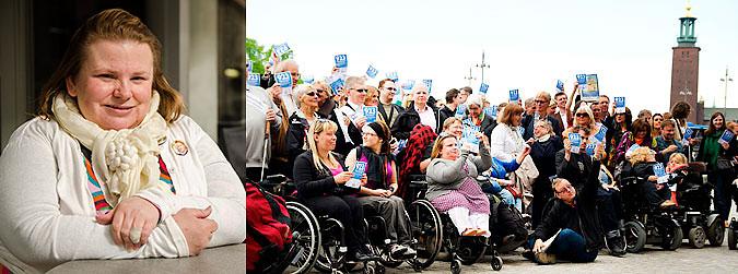 Montage av bild på Maria Johansson och en av torsdagsaktionens manifestationer.